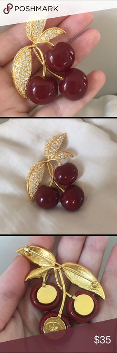 Joan Rivers Cherry Pin & Brooch Yummy cherry pin!! By the fabulous Joan Rivers. Like new. Jewelry Brooches