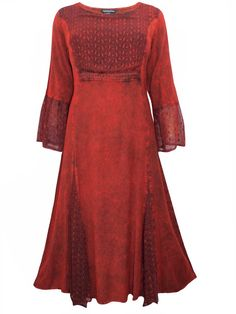 a2c7847b2e3 Striking antique red embroidered bell sleeve renaissance dress plus size