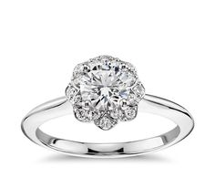 Hmm...pretty unique :) Floral Halo Engagement Ring in 14k White Gold | Blue Nile
