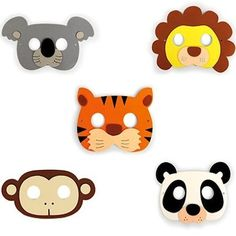 Turn any event into a wild time! These reusable masks are made from comfortable, soft foam with an elastic band on the back. Great for #kids or adults. The set of 5 includes lion, panda, monkey, tiger and koala bear.