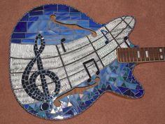 BLUES ROCKER Mosaic art guitar wall hangihg by racman on Etsy, $850.00