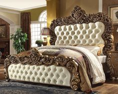 Homey Design Eastern King Bed HD-8011 Description : Rich Walnut Finish with Golden subdued and underlying Architectural Design make this collection known for its refined elegance. This Royal Style and                                                                                                                                                                                 More