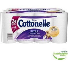 #walmart Cottonelle Ultra Comfort Care Toilet Paper Double Rolls, 166 sheets, 24 rolls - $11.97 (save 8%) #cottenelle #household #essentials