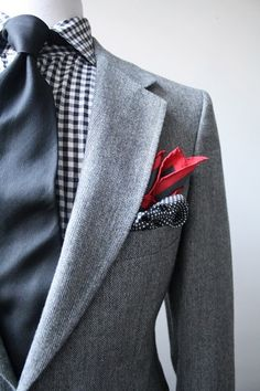 Gray suit. Red handkerchief