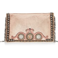 Matthew Williamson Beaded Fringe embellished metallic leather clutch (18 445 EEK) found on Polyvore