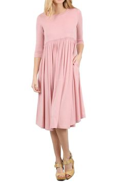 Midi Dress with Pockets and Shirring Detail