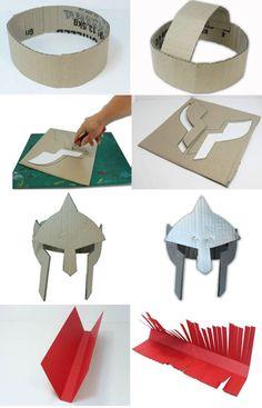 Como hacer un casco de gladiador con carton - Roman Soldier Helmet, Roman Soldier Costume, Roman Helmet, Cardboard Costume, Cardboard Crafts, Paper Crafts, Gladiator Costumes, Gladiator Helmet, Diy For Kids