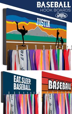 Our custom printed hook boards are a great way to decorate any baseball player's room! Hang season medals on it and display them with pride. Many designs can be customized with player's name, team name, number, or all three!