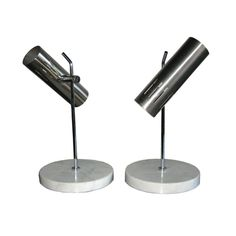 Pair of Alain Richard Table Lamps by Disderot  France  c. 1970  Pair of Alain Richard Table Lamps by Disderot, Brushed steel and marble; fully adjustable. Perfect bedside lamps.