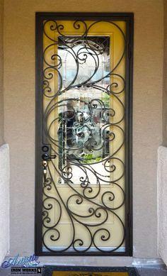 Custom Scrolled Wrought Iron Security Door - SD0055:
