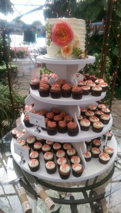Cupcake tower with monogramed mini's