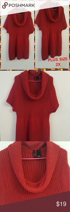PLUS SIZE 2X SWEATER NWT! VERY FLATTERING COWL New with Tags PLUS SIZE 2X SWEATER RED IN COLOR  NEW DIRECTION WOMENS VERY FLATTERING!! new directions Sweaters Cowl & Turtlenecks