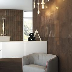 Buy Highline Copper tiles from Porcelain Superstore. Visit our website for great deals on porcelain tiles all with 5 year guarantee. Gray Interior, Best Interior, Kitchen Underfloor Heating, Metallic Wallpaper, Wall And Floor Tiles, Wall Tiles, Splashback, Furniture Manufacturers, Commercial Interiors