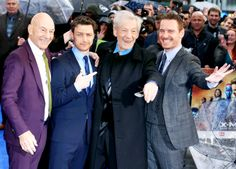 Patrick Stewart, James McAvoy, Sir Ian McKellen and Michael Fassbender attend the UK Premiere of 'X-Men: Days of Future Past' at Odeon Leicester Square on May 12, 2014 in London, England.