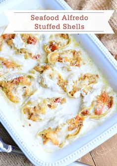 An amazing combination of two classic dishes, Seafood Alfredo Stuffed Shells is the ultimate mash-up. Pasta shells with shrimp, scallops, crab, and cheese is topped with creamy Alfredo sauce for a dinner recipe your family will love!