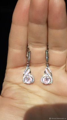 Materials: pink kunzite, cubic zirconia, silver plated 925, rhodium plating Size: length 3.5 cm; ##handmade Cubic Zirconia Earrings, Small Earrings, Silver Plate, Plating, Pink, Handmade, Free, Products, Small Stud Earrings