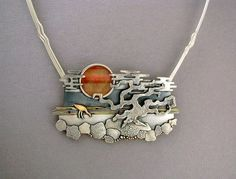 """""""Sunset"""" necklace by Ahlene Welsh - sterling silver, 14 k gold, cat's-eye"""