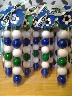 12 Soccer Themed Gumball Favor Tubes with Black, White and Green Gumballs , a Soccer Themed Ribbon and Soccer Ball Tags