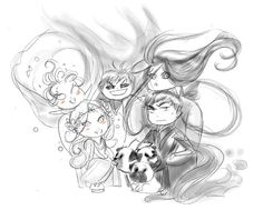 A quick sketch of the chibi Underworld family while I prepare more ^^ Some people asked me for more of Hades, Persephone, Melinoe, Macaria and Zagreus, now they are happily reunited :D