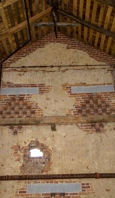 The inside of the south wall of the Trostle barn shows the hole that was created by Confederate artillery fire on July 2, 1863.