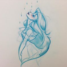 Rain drops #illustration #rain #vancouverweather #characterdesign #girl #ruffles #sketch #cute #raindrops #peaceful