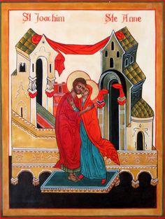 Ste Anne et St Joachim devant la porte dorée NL