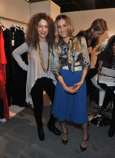Sarah Jessica Parker Button Down Shirt - Sarah donned an iridescent tie-neck blouse to the Enk Fashion Coterie in NYC.