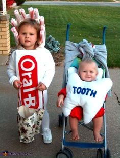 Toothbrush and Baby-Tooth Costume - Halloween Costume Contest via Halloween Costumes Kids Homemade, Clever Halloween Costumes, Halloween Costume Contest, Halloween Kids, Costume Ideas, Funny Halloween, Stroller Halloween Costumes, Halloween Teeth, Halloween Party