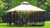 Canine Castle: Luxury DOG KENNEL- Ornamental Dog House w/ Water-misting Canopy t… - luxury dog kennel 10x10 Dog Kennel, Metal Dog Kennel, Dog Kennel Cover, Diy Dog Kennel, Kennel Ideas, Cheap Dog Kennels, Luxury Dog Kennels, Pet Kennels, Cheap Dog Houses