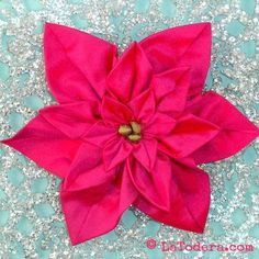 Fabric Flower PDF Pattern Tutorial- Pointsettia Brooch Set by La Todera.  TPoinsettia Brooches PDF Pattern  The iconic poinsettia that you can now recreate as a fabric flower in silk or quilting cotton! Make them in classic, vibrant red or winter white. Or go retro in Parisian pink! Make holiday fashion accessories! Festive-ize your jackets, purses, headbands, pet collars, etc. Embellish your holiday crafts such as stockings, tree skirts, wreaths, holiday quilted wall hangings and the like…