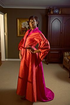 Handmade silk robe with pleated wide sleeves and s small train. ca7bd7283