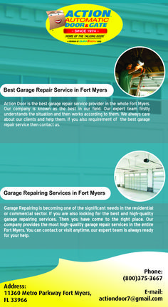 If you want to repair your garage, then you have come to the right palace. Our company is known as the best and most trustworthy garage repairs services provider in the entire Fort Myers. You can contact us anytime. Our expert team always provides high-quality service to our clients. Action Door, Garage Doors For Sale, Garage Repair, Door Gate, Marco Island, Garage Door Opener, Fort Myers, Palace, Commercial