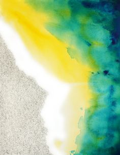 PARTING PANGAEA abstract watercolor art print in blue, yellow, green. $25.00, via Etsy.