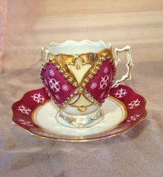 Antique Tea Cup and Saucer Gold Trim by AmericanVintageAve on Etsy