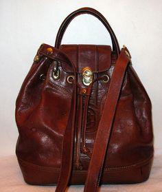 d0240cf57d3d Marino Orlandi glazed Italian leather Large drawstring bag satchel purse in  tan.