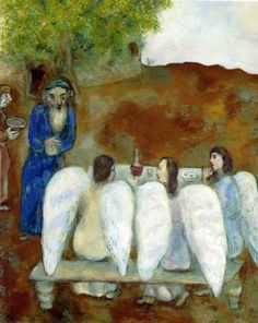 Abraham Receives the Three Visitors painted by Marc Chagall in 1931 illustrates the story told in Genesis 18, 1-16.