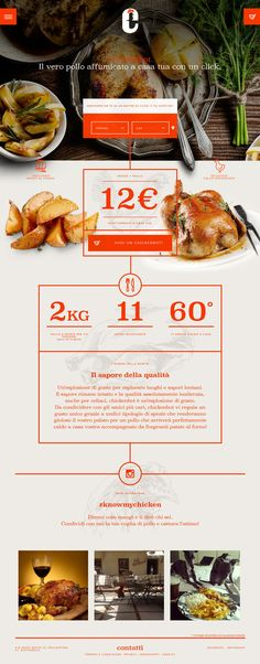 Flat Design Website; Example; Category: Inspiration; Name Site: Chickenbot; Type Website: Food and Drinks; Color: Orange.
