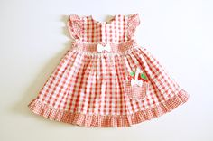Vintage Red Gingham with Strawberry and Bow Detail for Toddler Girl 24 Mos. $12.00, via Etsy.