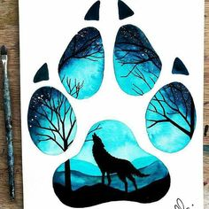 11 Ideas Wolf Drawing Tattoo Sketches For 2020 Wolf Painting, Painting & Drawing, Paw Print Drawing, Dog Paw Drawing, Cute Drawings, Animal Drawings, Wolf Drawings, Colorful Drawings, Silhouette Painting