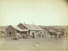 1888 photo, Western Ranch house, horses, farm, cowboy, Wyoming