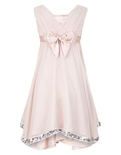 She'll look pretty in pink with our Elouise party dress for girls. Crafted in crinkle georgette, this drapey style features a sparkle lace waist and is embel...