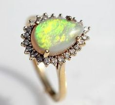 Vintage 14k Yellow Gold Genuine Australian Pear Shaped Opal Diamond Ring Size 8 | eBay