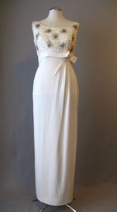 Vintage 60s Evening Gown Dress White Beaded Wedding Small bust 36 at Couture Allure Vintage Clothing