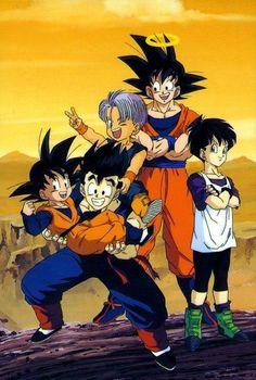 Group.  Goku, Gohan, Trunks, Goten and Videl.