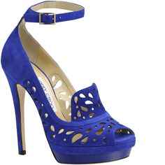 Jimmy Choo blue suede laser-cut platform with ankle-strap   SS2013