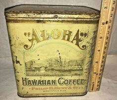 ANTIQUE ALOHA HAWAIIAN COFFEE TIN LITHO CAN MINNEAPOLIS MN VINTAGE SHIP BOAT OLD