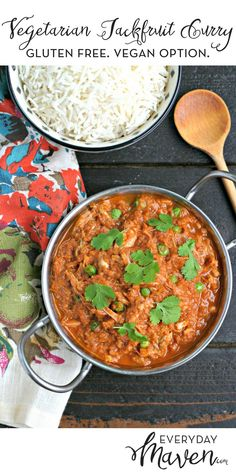 This Vegetarian Jackfruit Curry is gluten and grain free with a vegan option. A plant based dinner that can be served with rice or cauliflower rice! via @EverydayMaven