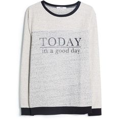 Mango Message cotton blend sweatshirt (€24) ❤ liked on Polyvore featuring tops, hoodies, sweatshirts, sweaters, shirts, sweatshirt, grey, blue cross, grey sweatshirt and ribbed long sleeve shirt
