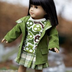 Green Oxford Square Coat, Pleated Skirt and Tee Shirt for 18 inch doll $37 foxandfamily on etsy.