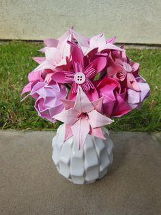 Origami flower arrangement origami tutorial lets make it set of 3 mini origami flower arrangement by florigamifashions mightylinksfo